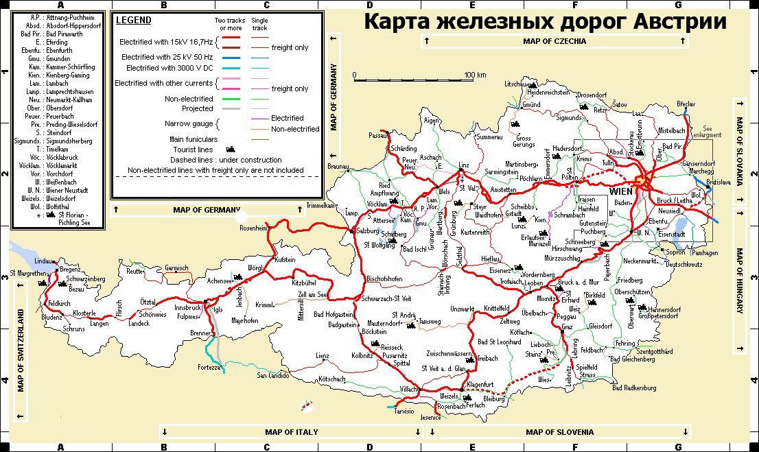 Карта железных дорог Австрии