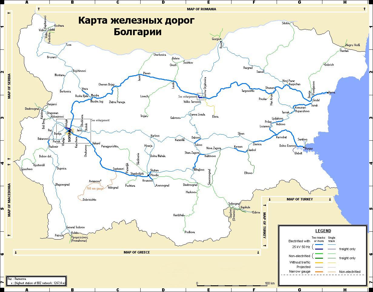 Карта железных дорог Болгарии