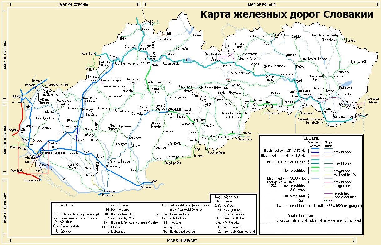 Карта железных дорог Словакии