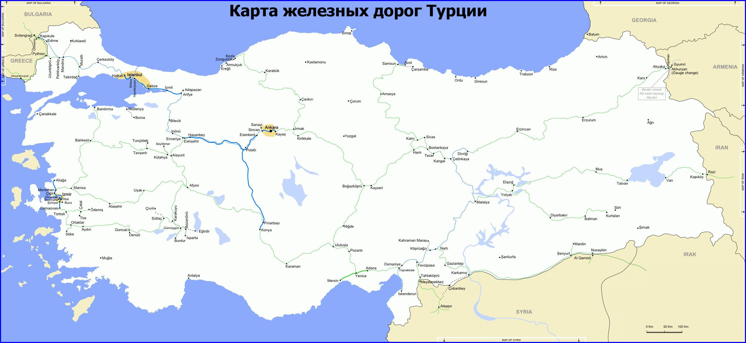 Карта железных дорог Турции